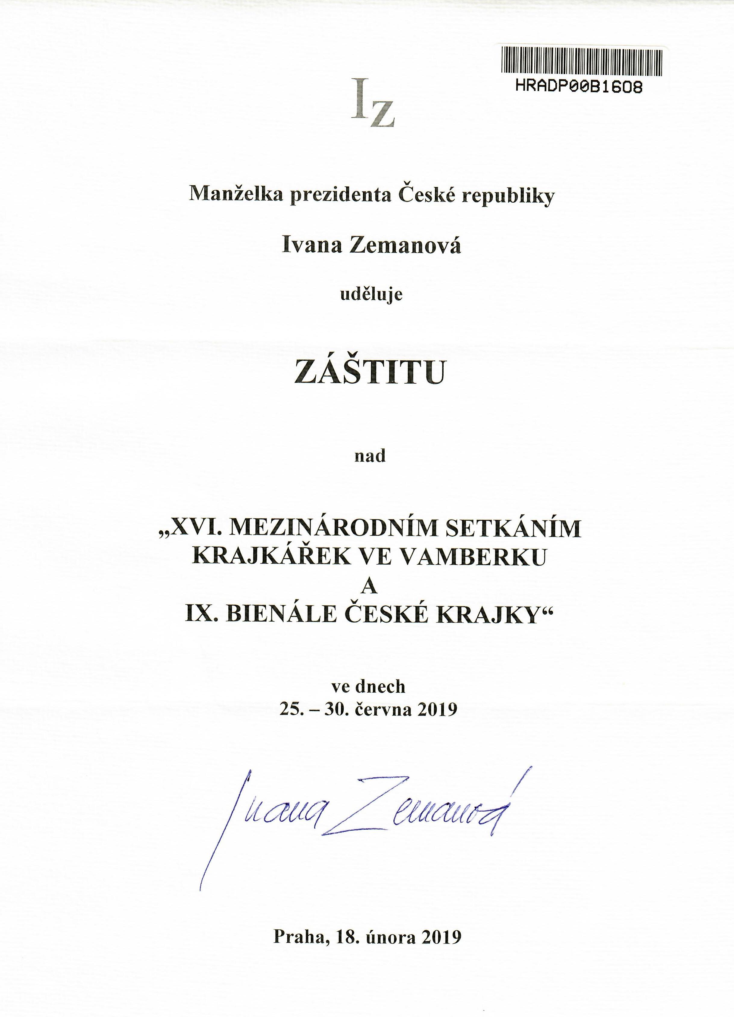 Záštita - Ivana Zemanová