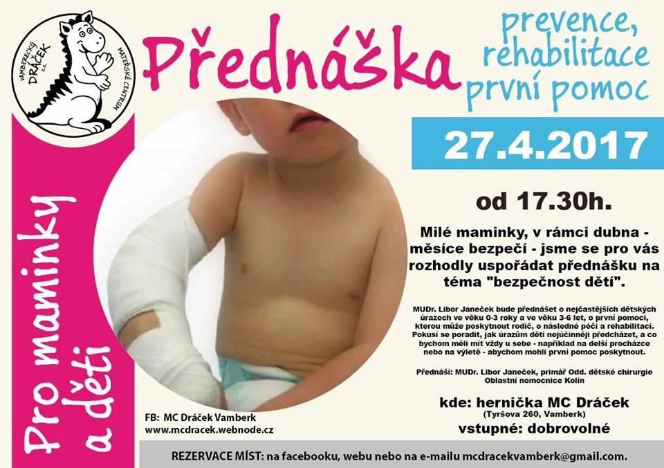 27.04.2017 - Přednáška - prevence, rehabilitace, první pomoc