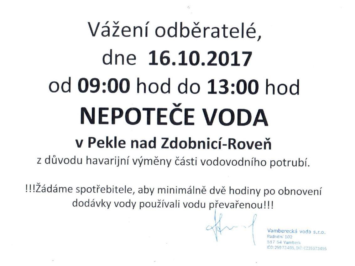 Odstávka vody Peklo 16.10.2017