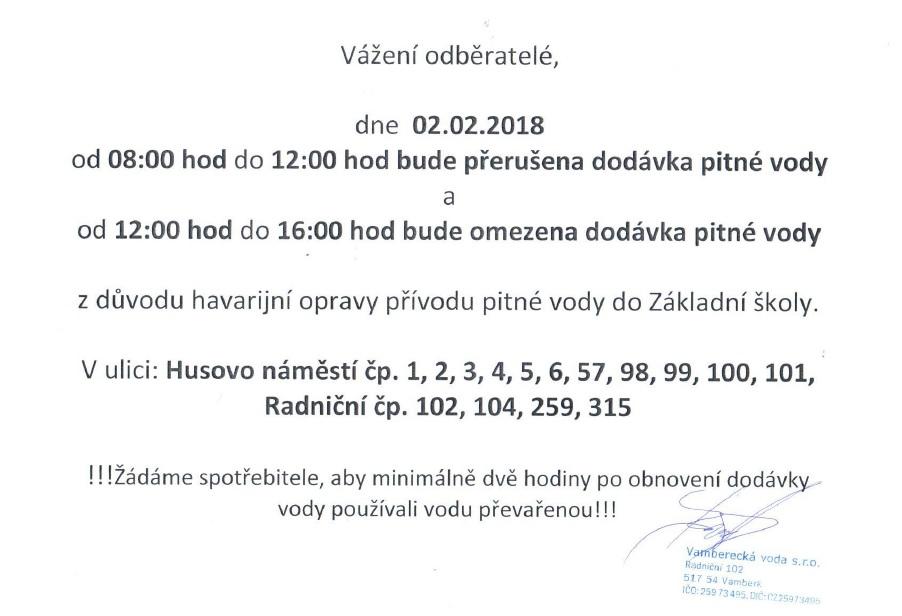 Dodávka pitné vody 02.02.2018
