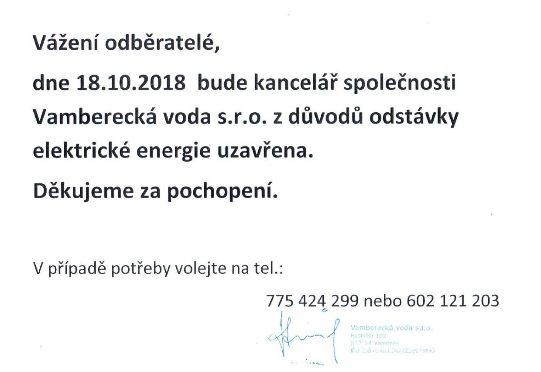 18.10.2018 - Vamberecká voda - upozornění