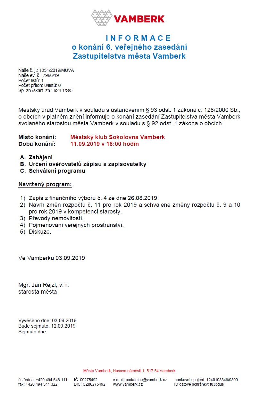 Informace o 6. ZZM