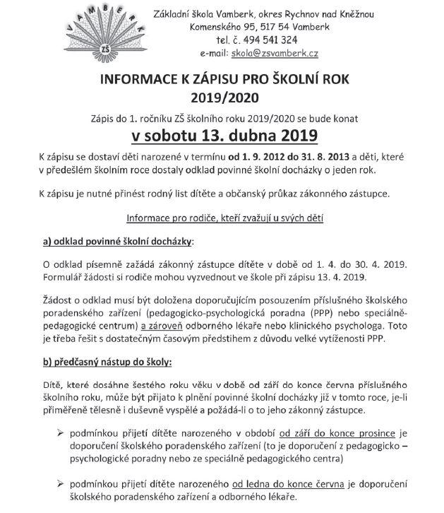 13.04.2019 - Zápis do 1. ročníku ZŠ