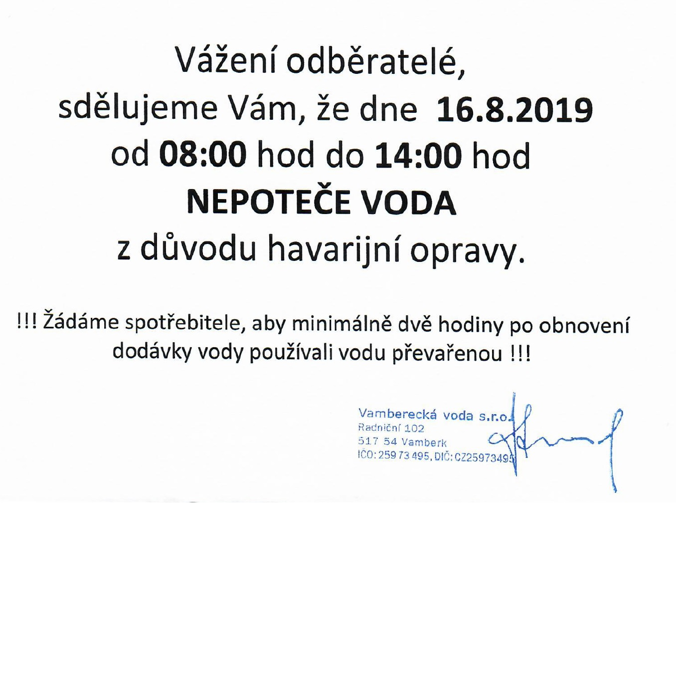 16.08.2019 - Nepoteče voda