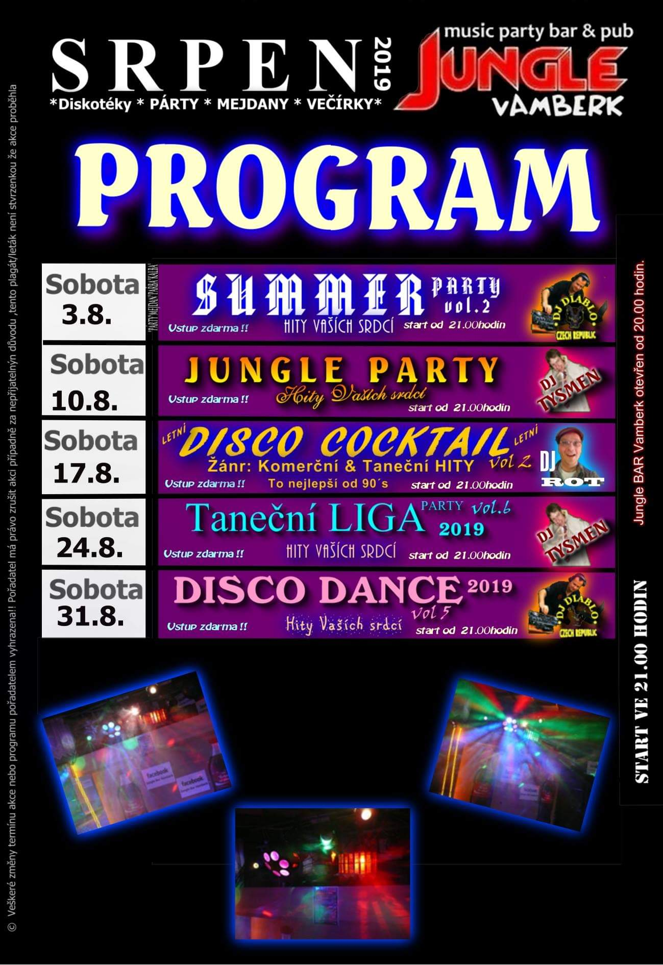 Jungle bar - program srpen