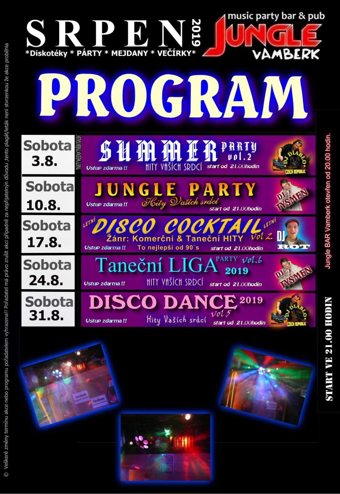 Jungle bar - program srpen
