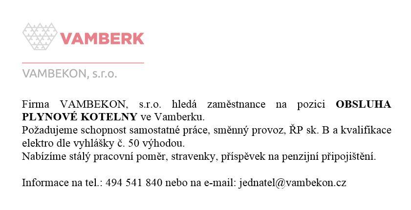 inzerát - VAMBEKON